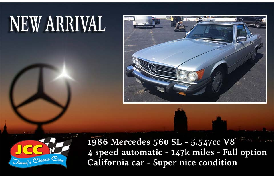 86 Mercedes 560 SL zilver SF